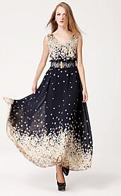TS Simplicity Print Chiffon Swing Maxi Dress Belt Included