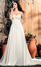 A-line Sweetheart Court Train Chiffon Wedding Dress (551581)
