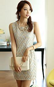 Women's Round Collar Print Sheath Mini Dress