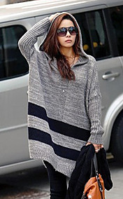Women's Light Gray Hooded Stripe Loose Sweater