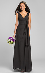 Sheath/Column V-neck Floor-length Chiffon Bridesmaid Dress(551453)