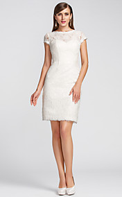 Sheath/Column Jewel Knee-length Lace Cocktail Dress (631227)