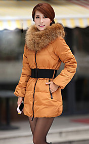 Women's Fur Collar Clip Cotton Tulip Coat With Belt