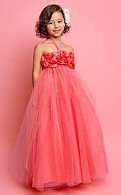 A-line Halter Floor-length Tulle Flower Girl Dress