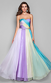 A-line/Princess Strapless Floor-length Chiffon Multi-color Evening Dress