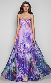 A-line/Princess Sweetheart Floor-length Print Chiffon Grace Evening Dress