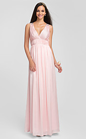 Sheath/Column V-neck Floor-length Charmeuse  Bridesmaid Dress (631244)