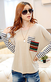Women's Stripes Splicing Puff Sleeve Pocket T-Shirt