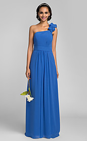 Sheath/Column One Shoulder Floor-length Chiffon Bridesmaid Dress (663641)