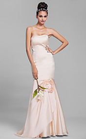 Trumpet/Mermaid Strapless Floor-length Chiffon Bridesmaid Dress (664871)