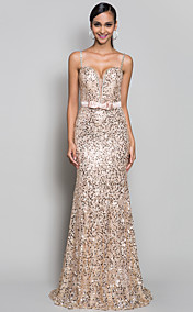 Trumpet/Mermaid Spaghetti Straps Sweep/Brush Train Sequined Refined Evening Dress