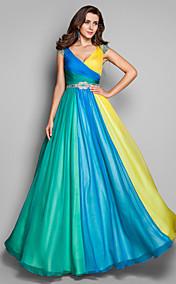 A-line/Princess V-neck Floor-length Chiffon Multi-color Evening/Prom Dress