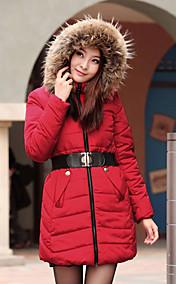 Women's Fur Collar Hooded Slim Belt Thick Coat