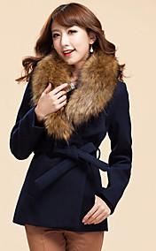 Women's Fur Collar Elegant Slim Belt Woolen Coat