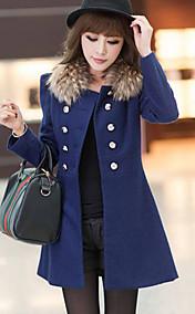 Women's Fur Collar Double Breast Coat