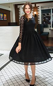 TS VINTAGE Long Lace Sleeve Swing Dress