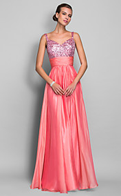 Sheath/Column Spaghetti Straps Floor-length Chiffon And Sequined Evening Dress (403242)