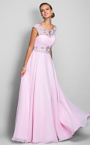A-line Scoop Floor-length Chiffon Evening Dress (699415)