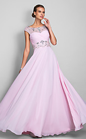 A-line Scoop Floor-length Chiffon Evening/Prom Dress (699415)