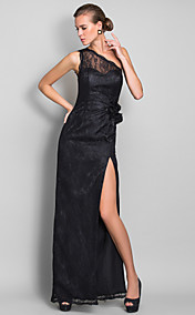 Sheath/Column One Shoulder Floor-length Lace Bridesmaid Dress (710812)