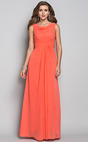 Sheath/Column Cowl Floor-length Chiffon Evening Dress (618856)