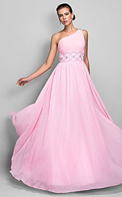 A-line One Shoulder Floor-length Chiffon Evening Dress (699400)