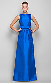 Sheath/Column Bateau Floor-length Taffeta Evening Dress (699457)
