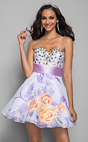A-line/Princess Sweetheart Short/Mini Print Stretch Satin Cocktail/Prom Dress