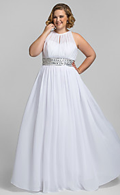 Plus Size Sheath/Column High Neck Floor-length Chiffon Stretch Satin Evening Dress