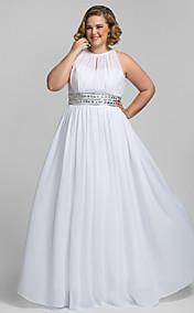 Plus Size Sheath/Column High Neck Floor-length Chiffon Stretch Satin Evening Dress