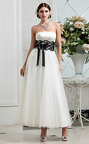 A-line Strapless Tea-length Tulle Satin Wedding Dress (635870)