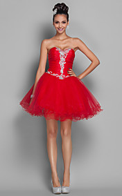 A-line Princess Short/Mini Organza And Tulle Coktail Dress (518595)