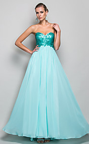 A-line/Princess Sweetheart Floor-length Chiffon And Sequined Evening/Prom Dress