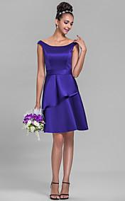 A-line Bateau Knee-length Satin Bridesmaid Dress (710821)