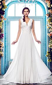 Sheath/Column V-neck Floor-length Chiffon Wendding Dress (635877)