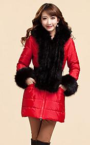 Women's Fur Collar Hooded Elegant Spicing Belt Thick Coat