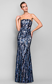 Sheath/Column Strapless Floor-length Sequined And Satin Refined Evening Dress