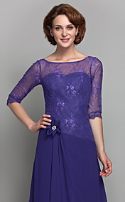 A-line Scoop Chiffon And Lace Mother of the Bride Dress (612471)