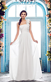 Sheath/Column One Shoulder Floor-length Chiffon Wendding Dress (631152)