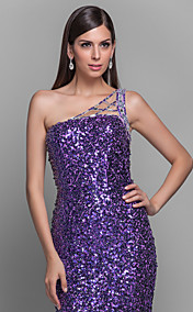 Trumpet/Mermaid One Shoulder Sweep/Brush Train Sequined Grace Evening Dress