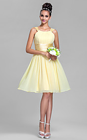 Sheath/Column Straps Knee-length Chiffon And Stretch Satin Bridesmaid Dress (663649)