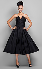 A-line V-neck Tea-length Taffeta Cocktail Dress(699433)