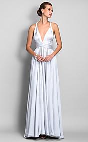 A-line Straps Floor-length Satin Chiffon Evengin Dress (682738)