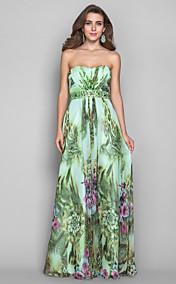 A-line/Princess Strapless Floor-length Print Chiffon Grace Evening Dress