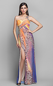 Sheath/Column One Shoulder Floor-length Animal Pattern Tulle Evening Dress