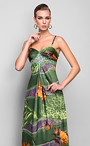 Sheath/Column Halter Floor-length Print Taffeta Evening Dress