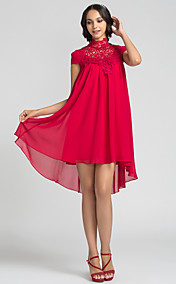 Sheath/Column High Neck Short/Mini Chiffon Bridesmaid Dress (710815)