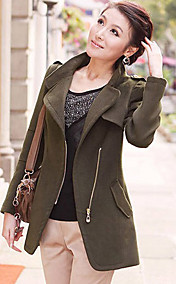 Women's Zipper Asym Hem Coat(Fur Collar Not Include)