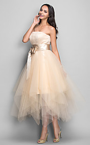 A-line Strapless Tea-length Tulle And Satin Cocktail/Prom Dress (699374)