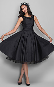 A-line Cowl Knee-length Taffeta Cocktail Dress (635893)